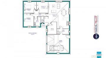 Vue LANDA 6 DG - 35° - dpts 19/23 - maison de plain pied - forme en L