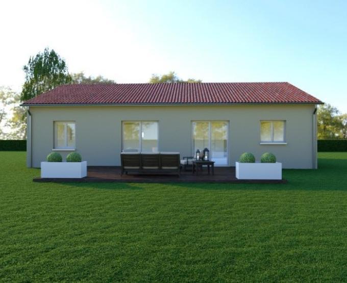 Vue VARIATION - 22° - dpts 87/46/24 - maison de plain pied - forme rectangle
