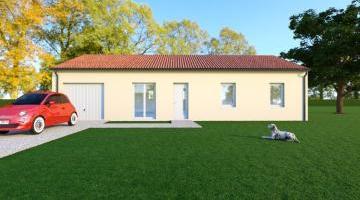 Vue WENGUE - 22° - dpts 87/46/24 - maison de plain pied - forme rectangle