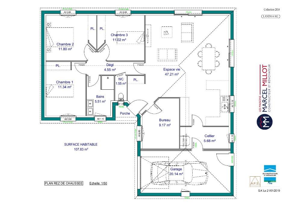 Vue LANDA 6 AG - 22° - dpts 87/46/24 - maison de plain pied - forme L
