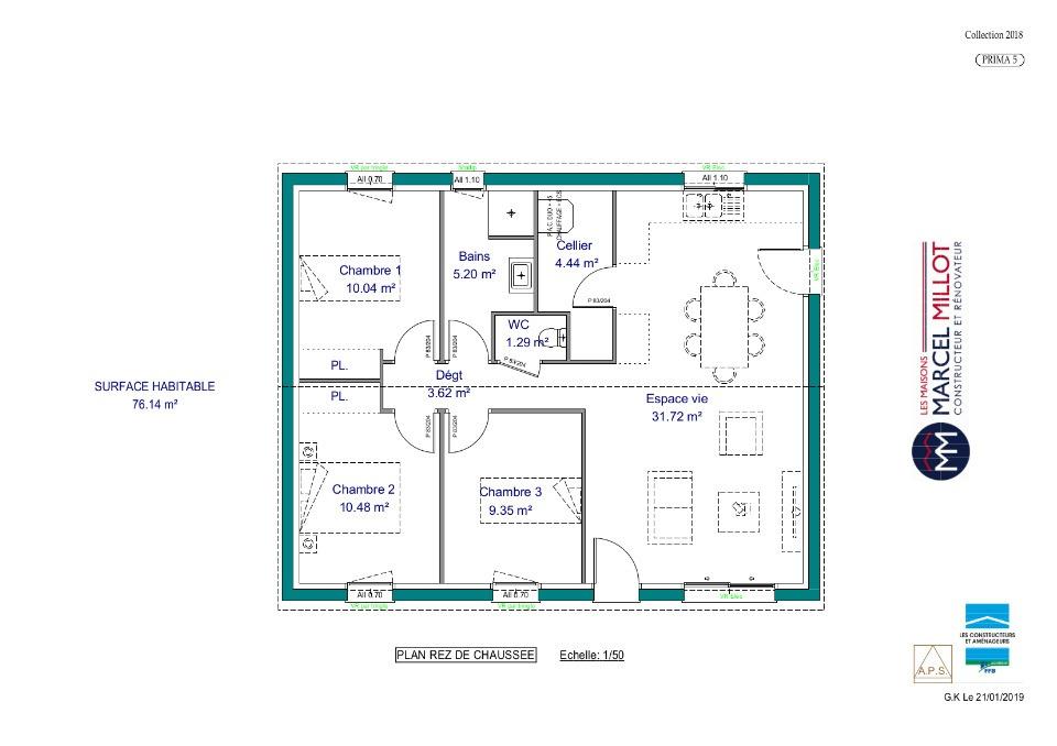Vue PRIMA 5 SG - 22° - 87/46/24 - maison de plain pied