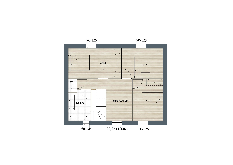 vue étage 3 chambres + mezzanine