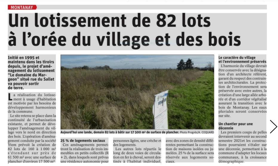 Futur lotissement sur la commune de Montanay